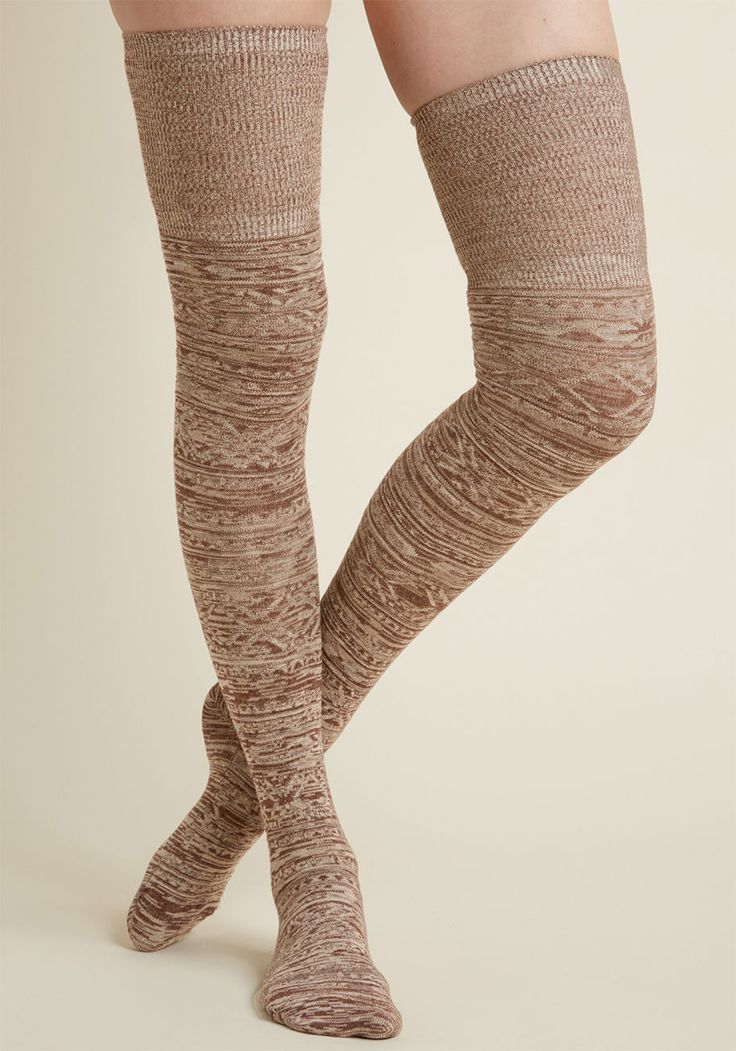 Token of Toasty Thigh Highs - Don't just look snuggly chic - be exactly that in these brown thigh highs! Ribbed at the tops and detailed with geometric patterns, these neutral socks are ultra-cool in the coziest way possible.