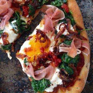 Egg Pizza Recipe with Prosciutto Ricotta and Spinach