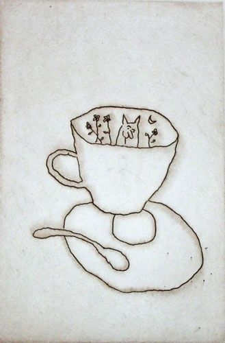 Cat and Cup by Michael Leunig, etching on copper