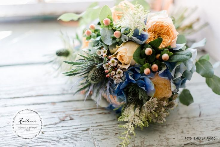 hydrangea wedding bouquet, blue, yellow, hypericum, astilbe, roses