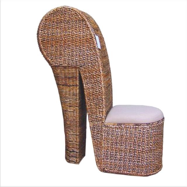 Unique wicker shoe chair