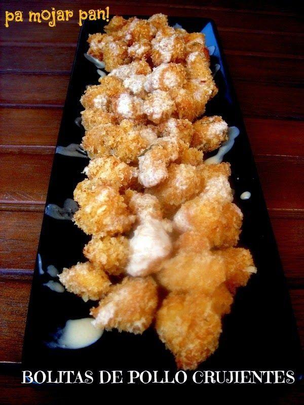pa mojar pan!: Bolitas de pollo crujiente con salsa de yogur y so...