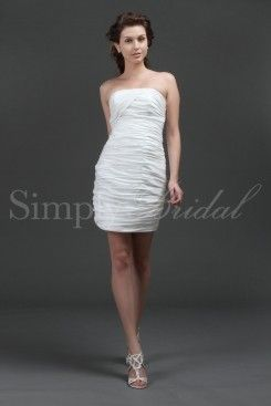 Wedding Dress by SimplyBridal. This festive and flirtatious short strapless gown will thrill warm weather brides. Imagine yourself on the beach with this ivory taffeta stunner. Also consider it for the rehearsal dinner or an after-hours second dress. The shirred bodice and bead-embelli. USD $125.99