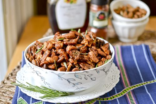 Chipotle & Rosemary Roasted Nuts - Ina Garten shows us how to make a really yummy snack mix with almonds, cashews, pecans, walnuts, brown sugar, maple syrup and fresh rosemary. Not too spicy OR too sweet. Bring on the Holiday snacks!