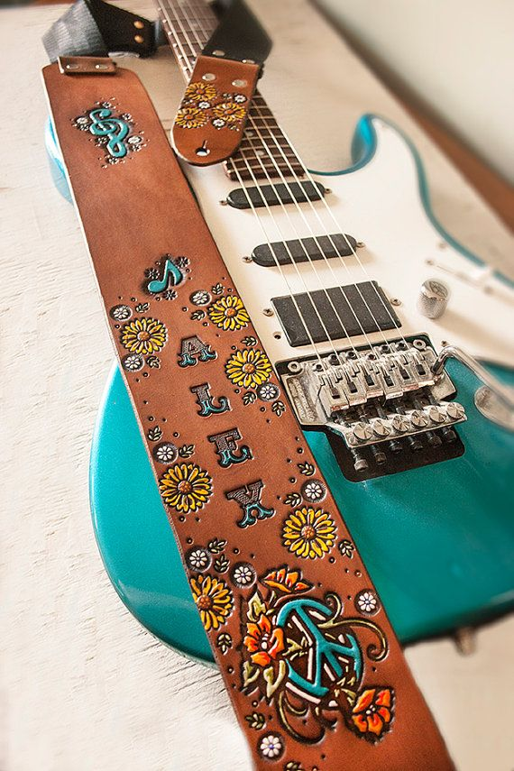 Custom Leather Guitar Strap Sunflowers and Peace by MesaDreams