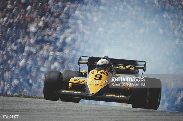 Smoke bellows from the engine as Manfred Winkelhock of Germany drives the Team ATS ATS D6 BMW Straight4 during the Austrian Grand Prix on 14th August...