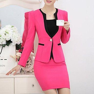 Mulheres+Blazer+Plus+Sizes+Outono,Sólido+Azul+/+Vermelho+/+Preto+Poliéster+Lapela+Chanfrada+Manga+Longa+Fina+–+BRL+R$+308,36