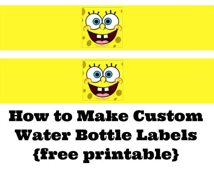 How to Make Custom Water Bottle Labels {free SpongeBob SquarePants printable} -