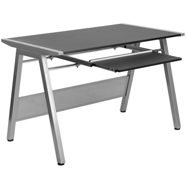 Modern Black Laminate Metal Computer Desk W/Pull Out Keyboard