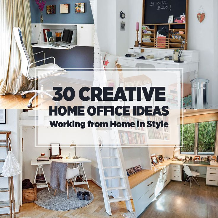 30 Creative Home Office Ideas: Working from Home in Style I like 5 (a desk with reading bench), 7 (with the cabinets),  Not sure which number - but turning the attics into an office with built in shelves
