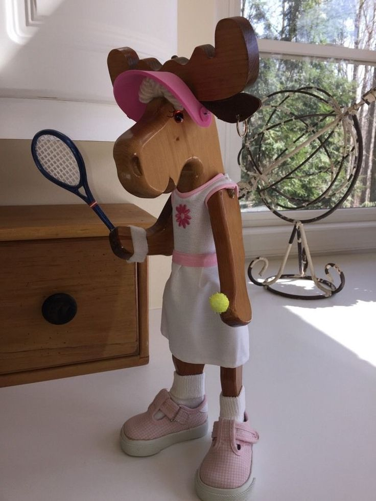Carved Lady Tennis Player Moose with Dress Racquet, etc!  White Elephant Alta