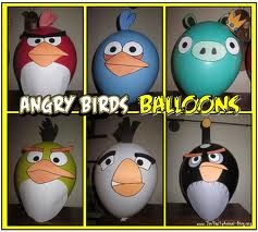 DIY angry bird balloons. Get the free printable angry bird faces from a link on squidoo, cut them out and attach them to balloons, cups, favour bags, invites etc. I'm also printing angry bird colouring pages for an activity