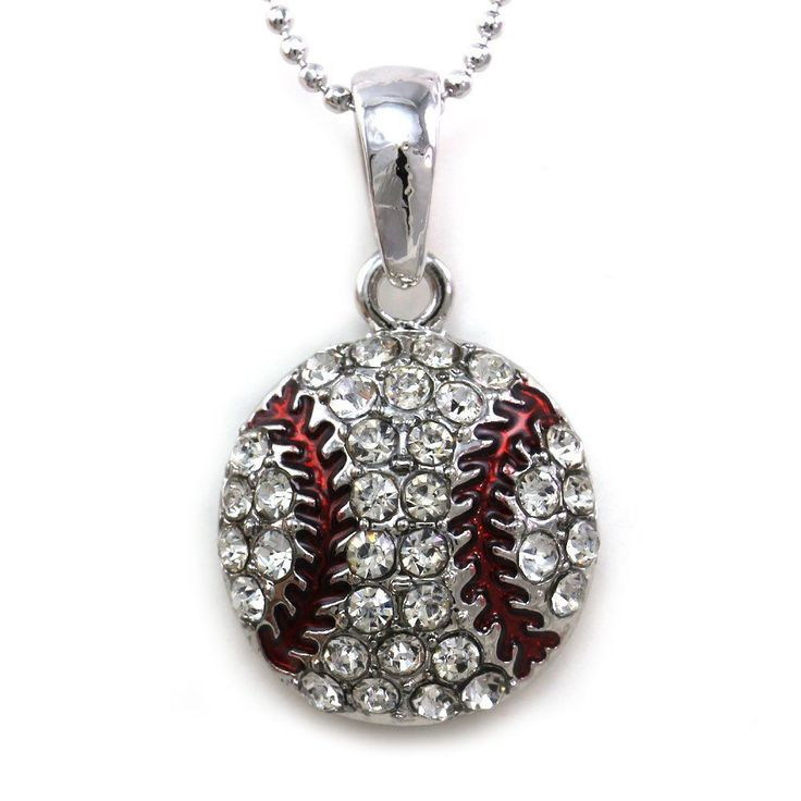 Baseball Sports Pendant Necklace Teens Clear Rhinestones Sports Fashion Jewelry #Soulbreezecollection #womens