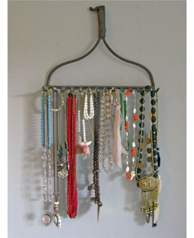 An old rake gets new life as a streamlined jewelry organizer—with room for all your necklaces, bracelets, and a scarf or two if you like. Wash and scrub the rake before putting it to use, then simply hang it from a nail on the wall. All your accessories are now fashionably displayed and fabulously accessible.