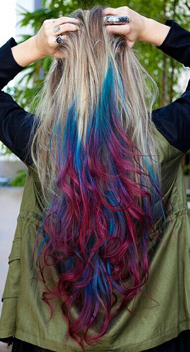Blonde blue and pink hair