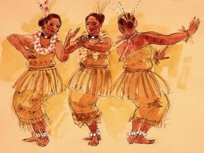 Three Tongan Female Dancers, Print 15