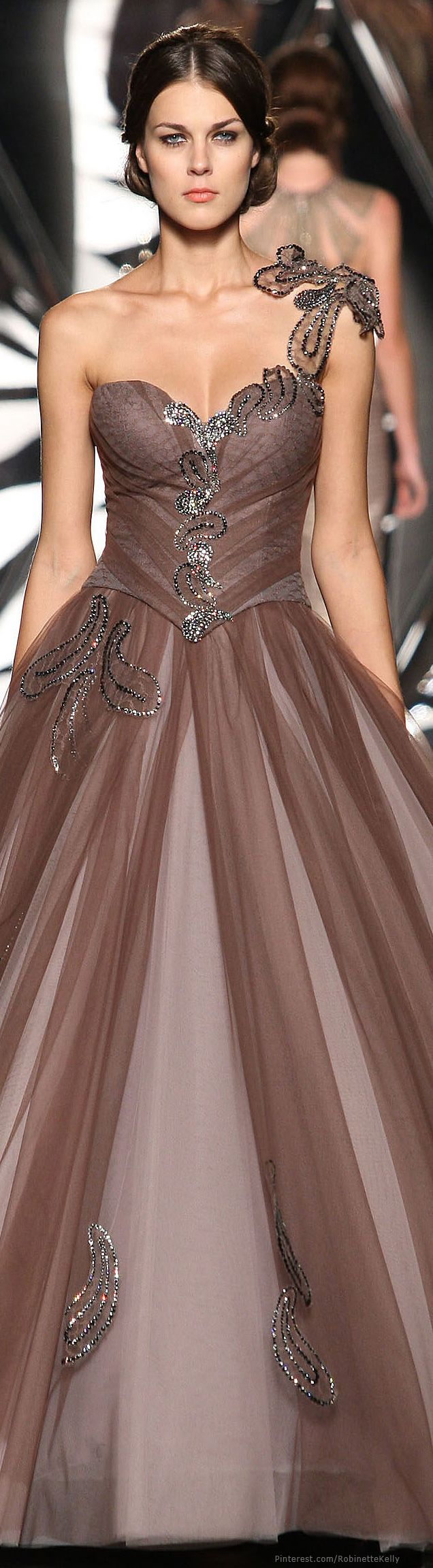 Mireille Dagher ~ Couture One Shoulder Full Skirt Evening Gown, Cocoa Brown