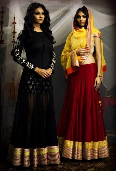 SVA #Lehengas. Black Or Red #Lehenga With Yellow Dupatta?