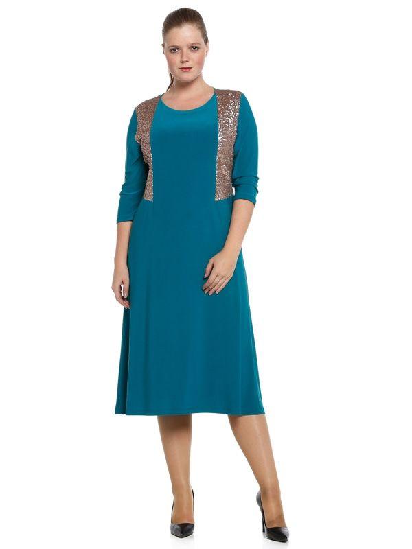 Nidya Moda - Nidya Moda Büyük Beden Payetli Elbise-4060T