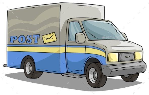 Cartoon Post Delivery Transportation Cargo Truck Trucks Cartoon