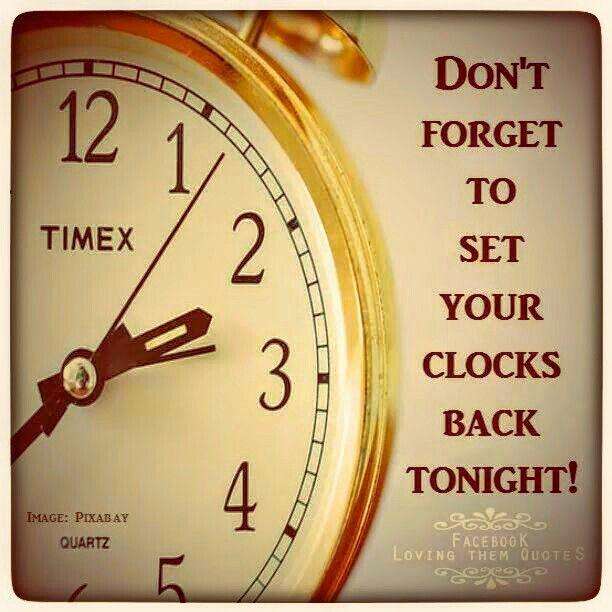 Do you set the clocks back tonight or Sunday night?
