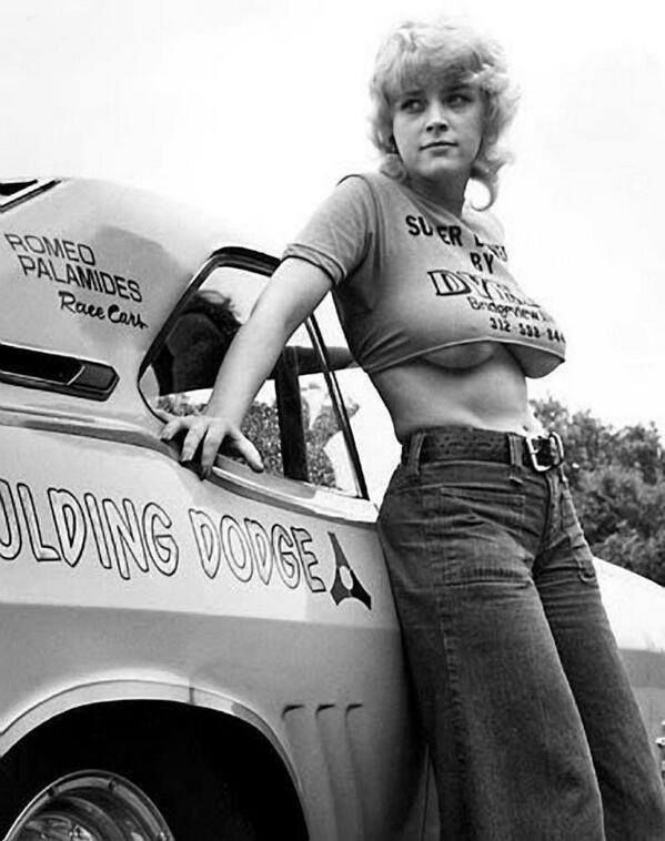 There is something strangely similar between the car and this chick. #musclecar #girl #vintage