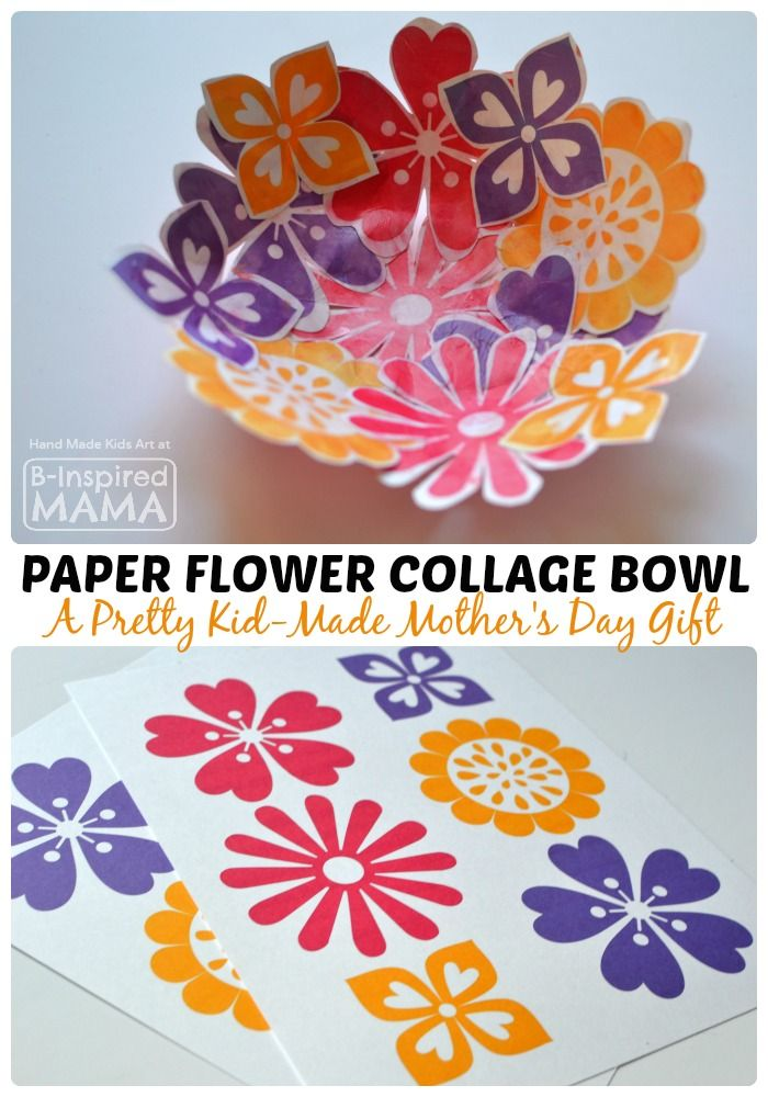 Colorful Paper Flower Bowl Mother's Day Craft for Kids at B-Inspired Mama