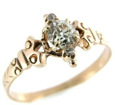 Victorian Engagement Rings 1900 Late Circa 14k Rose Gold Ring
