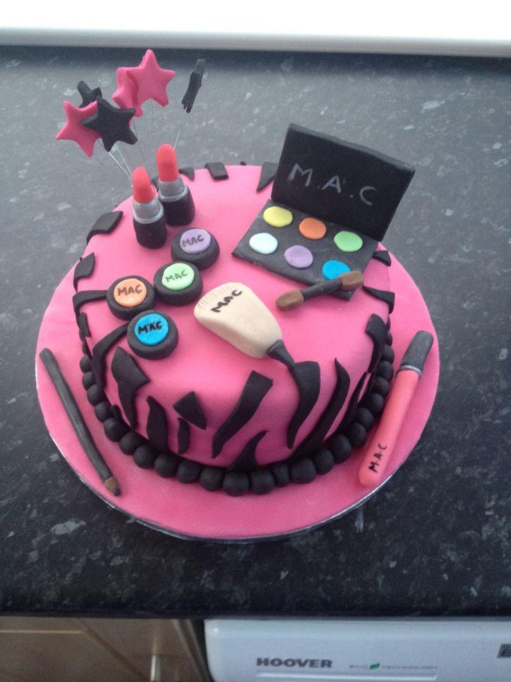 Mac makeup cake. Vanilla sponge and buttercream with fondant decorations.
