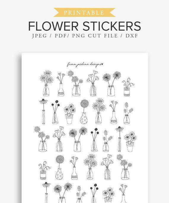 Flower Vase Printable Planner Stickers Decorative Printable