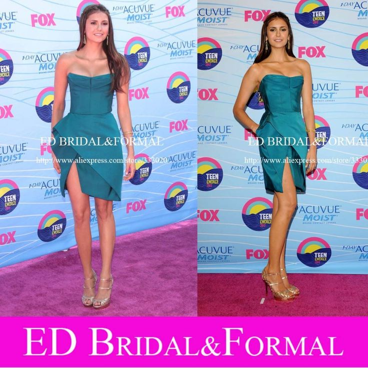Nina Dobrev Teal Kleid zu Teen Awards Roter Teppich Satin Trägerlosen Kurzen Berühmtheit Prom Kleid Cocktail Party Kleid //Price: $US $86.00 & FREE Shipping //     #clknetwork