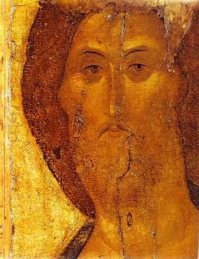 Rublev - Our Savior. Nouwen, in his book on icons, has such a beautiful meditation on this icon.