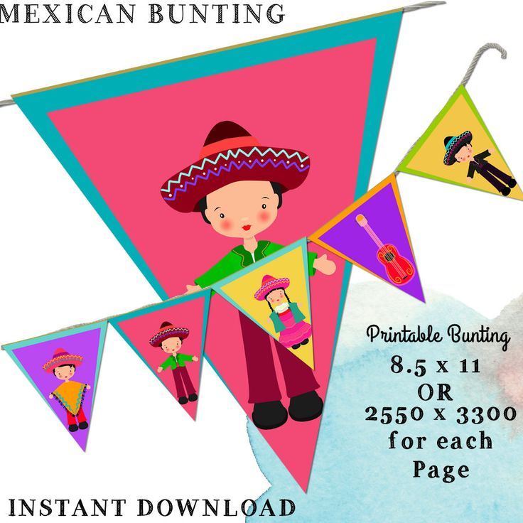 Mexican Bunting, Fiesta Bunting, Party Bunting, Festival Bunting, Printable…