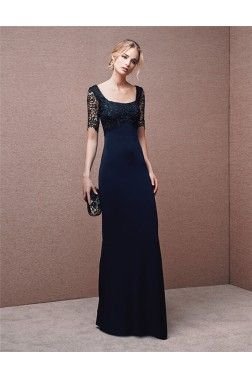 Sheath Square Neck Long Navy Blue Chiffon Lace Beaded Evening Dress With Sleeves