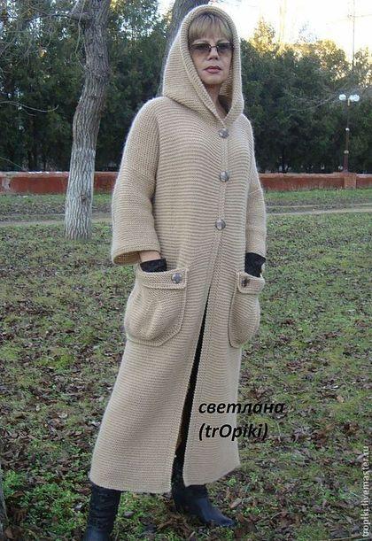 """Верхняя одежда ручной работы. Пальто вязаное """" Любимое"""" с капюшоном.. Светлана…"""