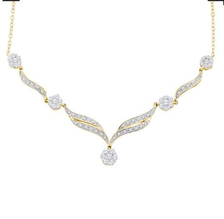 0.76CTW ROUND DIAMOND LADIES FLOWER NECKLACE