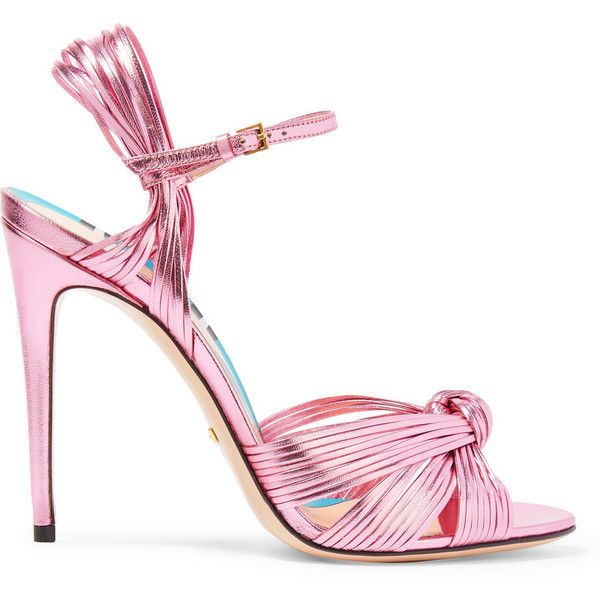 Gucci Metallic leather sandals ($795) ❤ liked on Polyvore featuring shoes, sandals, heels, gucci, pink, pink heel sandals, ankle wrap sandals, gucci sandals, high heel stilettos and heels stilettos