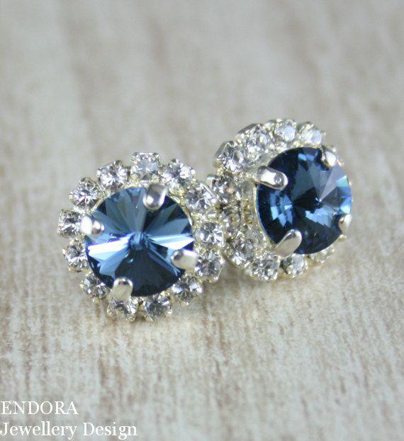 Denim blue Swarovski crystal stud earrings | #EndoraJewellery www.endorajewellery.etsy.com