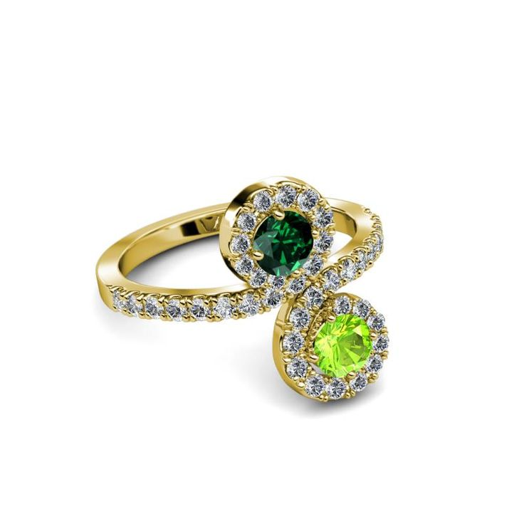 Kevia Peridot and Emerald with Side Diamonds Bypass Ring - Peridot and Emerald 2 Stone with Side Diamonds Bypass Engagement Ring 1.23 ct tw in 14K Yellow Gold. | TriJewels
