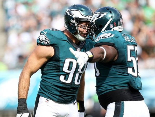 Eagles DE Connor Barwin (98) celebrates his sack against Browns QB Robert Griffin III (10) with Eagles DE Brandon Graham (55) during the fourth quarter of the game at Lincoln Financial Field in Philadelphia, Sunday, Sept. 11, 2016. (Lori M. Nichols | For NJ.com)