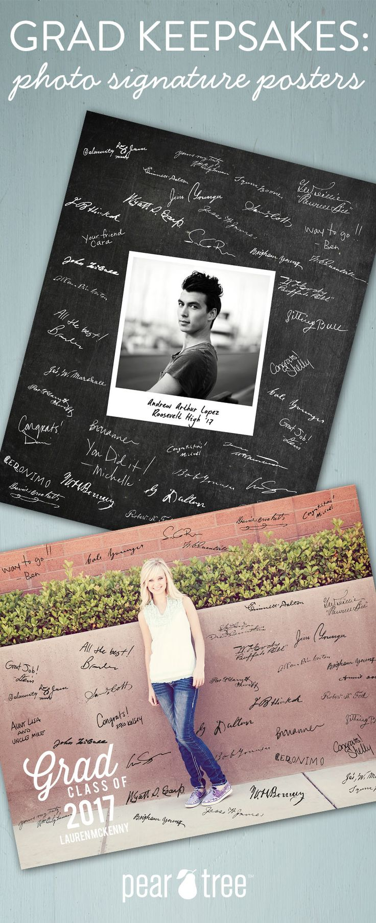 The graduate deserves a special keepsake; something they'll be proud to display long after graduation. Photo Signature Posters are fun for any grad to put out at their graduation party and display long after the celebration.