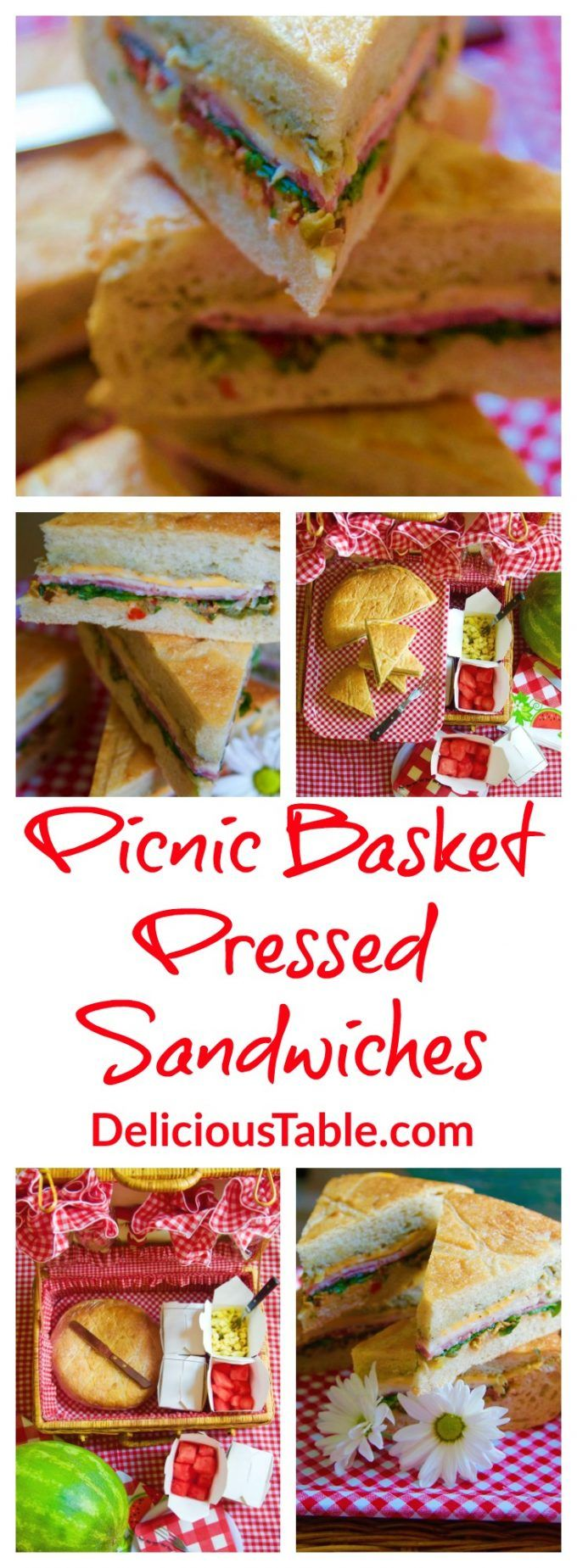 Yummy Picnic Basket Pressed Sandwiches are both neat to eat, and easy to make! Made in minutes, can be made ahead, and store well overnight in the fridge.
