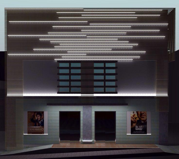 Santa Venerina. Catania. Cine-teatro Eliseo. Rivestimento del Fronte in doghe di frassino TT