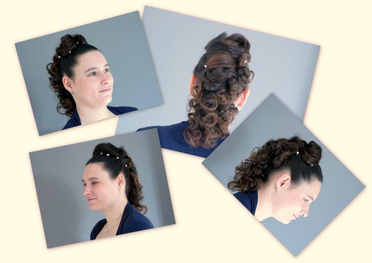 Half Updo very special with highlighted hair Trendy Hairfashion for Bridal, Bride, Gala, Prom, Event, Party hair  Half Opgestoken haar, erg speciaal met diverse highlights of lowlights in het haar. Voor de Trendy bruid,bruiloft,  Gala, gelegenheid en feest kapsel