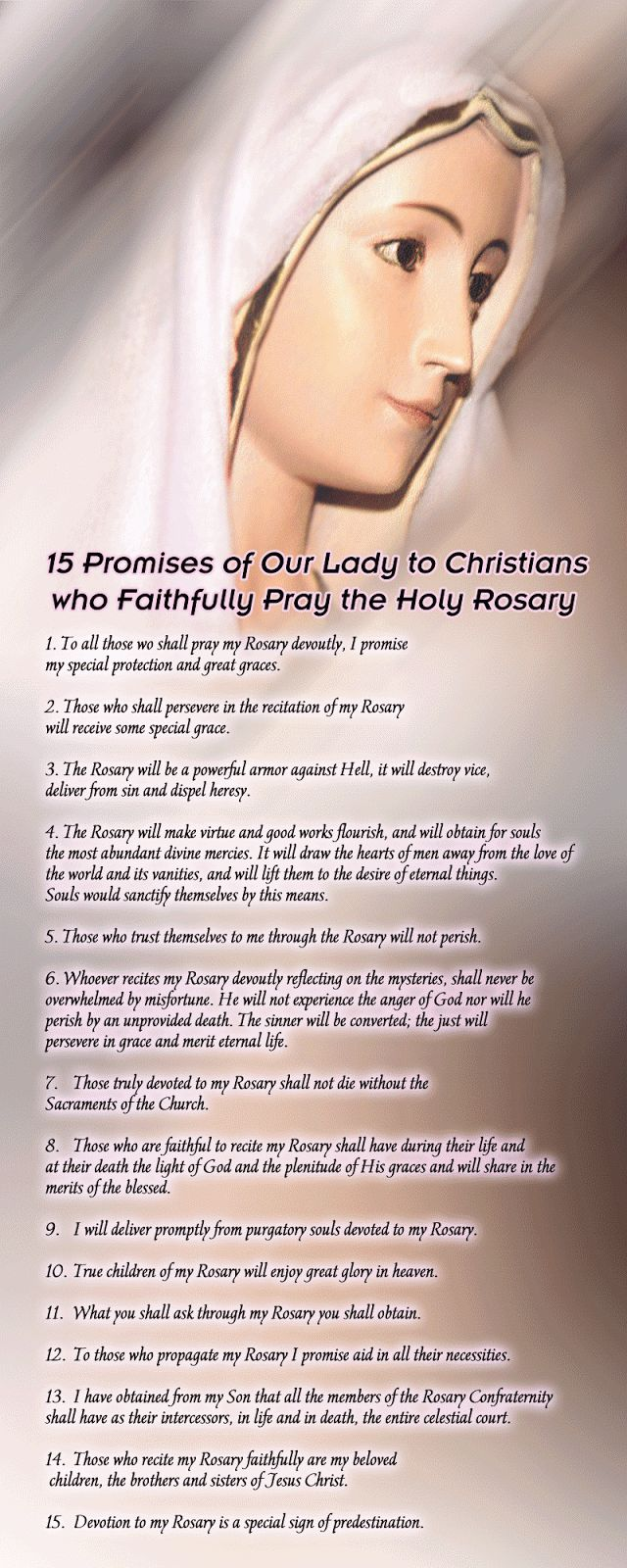 "T he word Rosary means ""Crown of Roses"". Our Lady has revealed to several people that each time they say a Hail Mary they are giving her a ..."
