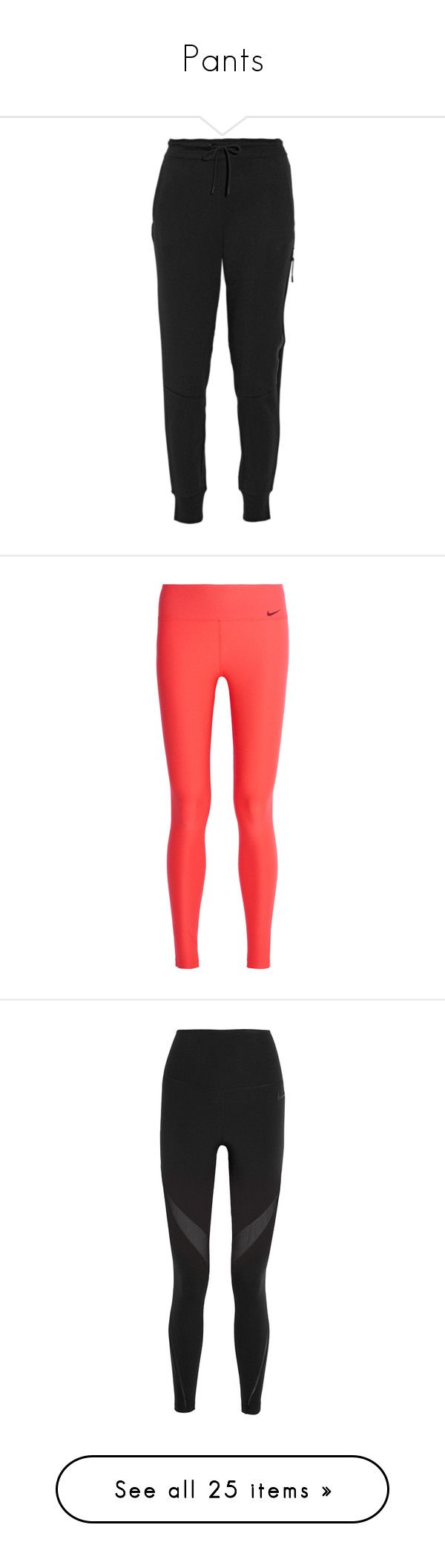 """""""Pants"""" by kaileyhava ❤ liked on Polyvore featuring activewear, activewear pants, nike, pants, bottoms, sweatpants, black, tech fleece sweatpants, tapered sweatpants and nike sweatpants"""