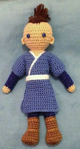 "This is a pattern for a crocheted doll inspired by the character of ""Sokka,"" from the animated TV series ""Avatar the Last Airbender."""