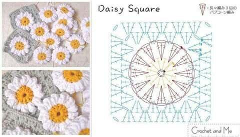 Square a ganchillo con diagrama