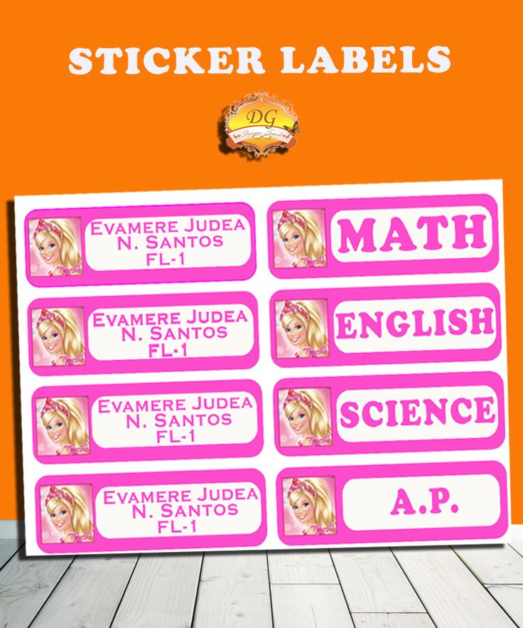 BARBIE STICKER LABELS :) BACK TO SCHOOL!! :)   Organize your child's school supplies such as books and notebooks with stickers! Put your child's name and school/ class section. Customize ANY CHARACTER and ANY COLOR! <3     Send us a message on facebook DG Precious Touch for your inquiries :)