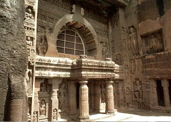 There are 30 caves at Ajanta chiselled out of hard rock by Buddhist monks between 200 BC and 650 AD as Chasityas (chapels) and viharas (monasteries), that exhibit intricate stone-work and frescoes ~ Maharashtra, India